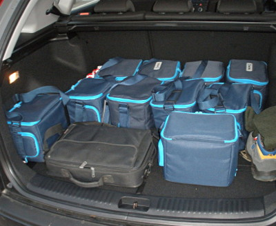 Car trunk carrying 6 PMU devices, including all the additional equipment.