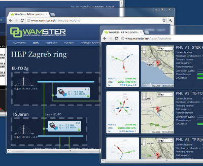 Screenshot of several Wamster GUI views